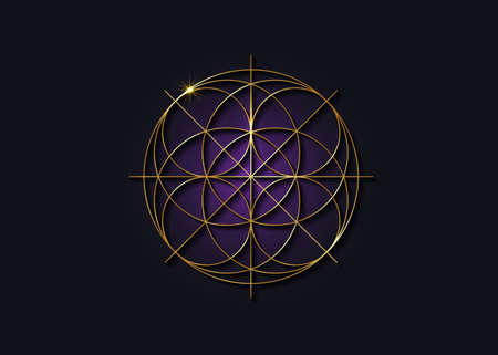 Sacred Geometry gold symbol, Seed of life sign. Geometric mystic luxury purple mandala of alchemy esoteric Flower of Life. Golden line art vector divine meditative amulet isolated on black background