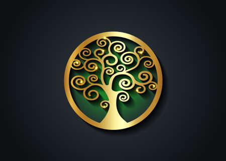 Sacred Tree, gold round tree of life icon, natural logo and tree green ecology illustration symbol sign vector design isolated on black background, abstract golden luxury blossoming swirl tree Vectores