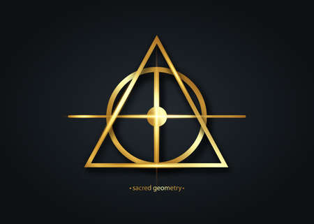 Alchemical cross, Sacred Geometry gold logo icon, primitive geometric shapes. Alchemy esoteric symbols. Golden luxury line art vector divine meditative amulet isolated on black background