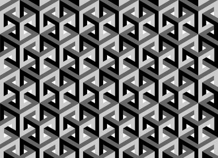 Impossible cubes pattern, isometric background, 3d vector cubes texture abstract template Vectores