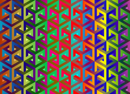 Impossible cubes pattern, colorful gradient isometric background, 3d vector cubes texture abstract template