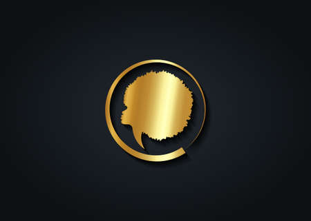 Gold luxury African Woman round logo design. Golden diadem Curly afro hair, Afro portrait in ethnic traditional hair style concept, vector isolated on black background Illustration