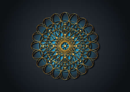 Sacred Geometry esoteric Flower of Life, gold filigree mandala embroidery jewelry concept. Seed of life symbol, golden luxury cross design vector divine meditative amulet isolated on black background Illustration