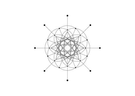 Sacred Geometry, Seed of life, star symbol. Logo icon Geometric mystic mandala of alchemy esoteric Flower of Life. Vector black line art tattoo divine meditative amulet isolated on white background Vectores