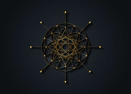 Gold Sacred Geometry, Seed of life, star symbol. Logo icon Geometric mystic mandala of alchemy esoteric Flower of Life. Vector golden line art divine meditative amulet isolated on black background