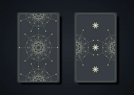 Set magical tarot cards, magic occult sacred geometry sign, esoteric boho spiritual symbols, Flower of Life. Witch icons, Seed of life sacred mandala. Vector collection isolated on dark background Illustration