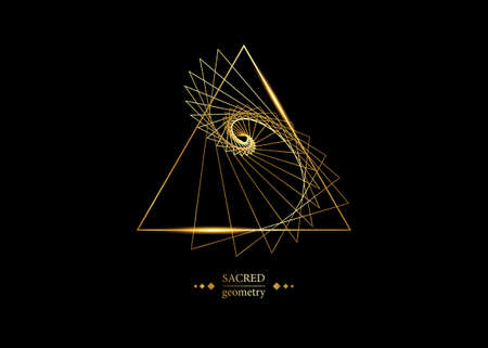 triangles according to fibonacci series and golden ratio. Sequence golden section, divine proportion and shiny gold geometric spiral. Sacred Geometry logo vector isolated on black background