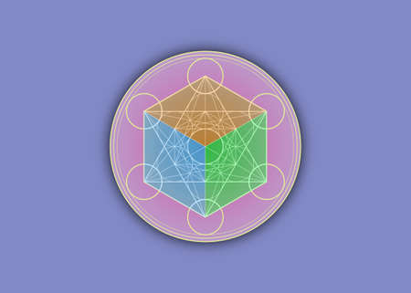 3D Metatrons Cube, Colorful Flower of Life. Sacred geometry, graphic element Vector isolated Illustration or purple background. Mystic icon platonic solids, abstract round geometric drawing