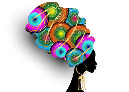 portrait beautiful African woman in traditional turban handmade tribal motif, Kente head wrap African with gold ethnic earrings, black Afro women, vector silhouette isolated on white background