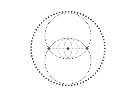 Vesica piscis Sacred geometry. All Seeing eye, the third eye or The Eye of Providence inside dotted circles. The eye of Phi mystic heaven and earth vector illustration isolated on white background Illustration