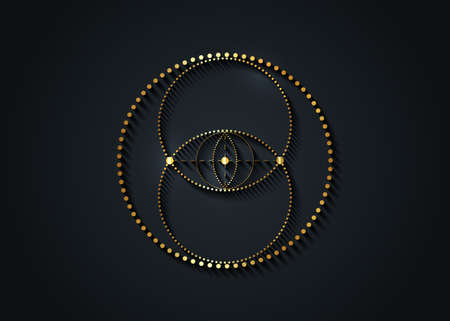 Vesica piscis gold Sacred geometry sign. All Seeing eye, the third eye or The Eye of Providence inside dotted circles. The eye of Phi mystic heaven and earth vector isolated on black background