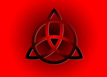 Triquetra logo, Trinity Knot, Wiccan symbol for protection. 3D Vector dark red Celtic trinity knot set isolated on red background. Wiccan divination symbol, Ancient occult symbols