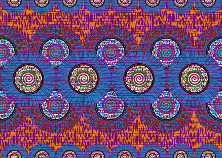 African Wax Print fabric, Ethnic handmade ornament for your design, Afro Ethnic sun flowers and tribal motifs pattern geometric elements. Vector texture, Africa seamless textile Ankara fashion style
