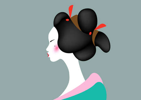 portrait of the young Japanese girl an ancient hairstyle. Geisha, maiko, princess. Traditional Asian woman style. Print, poster, t-shirt, card. Vector illustration isolated on old green background