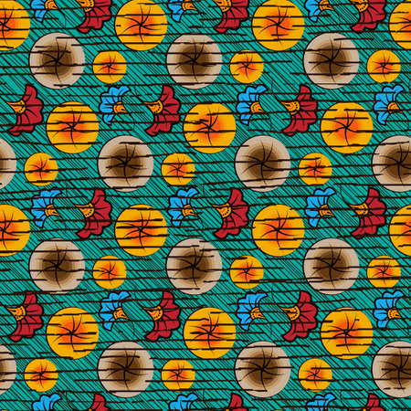 Seamless African Wax Print fabric, Ethnic handmade ornament design, tribal pattern motifs floral elements. Vector texture, colorful textile Ankara fashion style. Pareo wrap dress wedding sun flowers