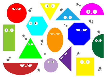 Colorful Set of Various bright basic Geometric Figures with face emotions. Different shapes and eyes. Hand drawn trendy Vector illustration for kids. Cute funny characters. All elements are isolated Ilustração