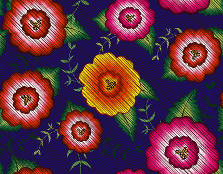 Mexican floral embroidery seamless pattern, colorful native flowers folk fashion design. Embroidered Traditional Textile Style of Mexico, vector isolated on blue background