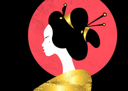 portrait of the young Japanese girl ancient hairstyle. Geisha, maiko, princess. Traditional Asian woman style. Print, poster, t-shirt, card. Vector illustration isolated on red moon, black background Ilustração