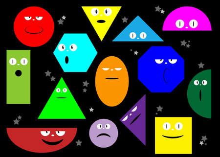 Colorful Set of Various bright basic Geometric Figures with face emoticons. Different shapes and eyes. Hand drawn trendy Vector illustration for kids. Cute funny characters, isolated on black