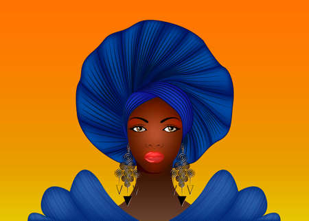 Nigerian Headtie, portrait African American woman wearing an ethnic Afro turban. Beauty black girl in Yoruba Wedding clothes hairstyles. Fashion model vector isolated on sunset background