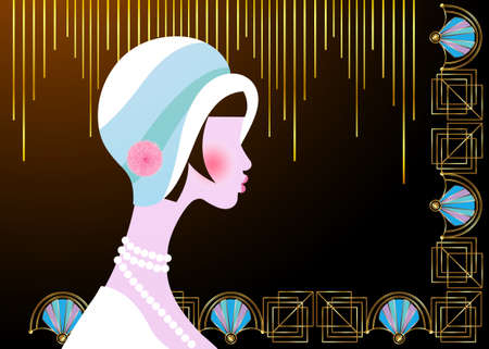 Portrait of flapper girl with hat. Art Deco, retro party, vintage woman 1920 style, invitation template design. Vector isolated on golden background for glamor event, thematic wedding or jazz party