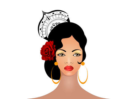 Portrait of flamenco woman, beautiful girl, Spanish style. Latin Lady wearing folk accessories peineta, red rose flower and earrings, Vector illustration isolated on white background Ilustração