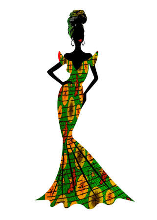 Beautiful African woman in typical afro clothing and headdress ethnic turban, ankara wax print textile for traditional Nigerian wedding ceremony. Vector isolated on white background