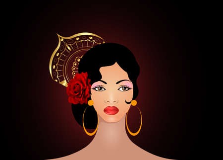 Portrait of flamenco woman, beautiful girl, Spanish style. Latin Lady wearing gold folk accessories peineta, red rose flower and earrings, Vector illustration isolated on black background Ilustração