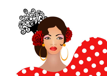Portrait of flamenco woman, beautiful girl, Spanish style. Latin Lady wearing folk accessories ethnic comb, peineta, red rose flower and earrings, polka dots dress. Vector isolated on white background Ilustração