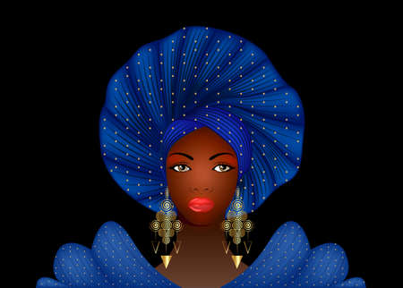 Nigerian Headtie, portrait African American woman wearing ethnic Afro turban, gold earrings. Beauty black girl in Yoruba Wedding clothes hairstyles. Fashion model vector isolated on black background Ilustração
