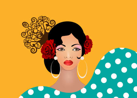 Portrait of flamenco woman, beautiful girl, Spanish style. Latin Lady wearing folk accessories ethnic comb, peineta, red rose flowers and earrings, polka dots dress. Vector isolated orange background