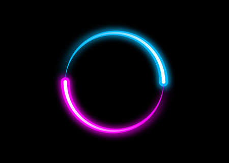 dynamic circle neon effect, Sci-Fi Futuristic Abstract Gradient Blue Purple Pink Neon Glowing Circle Round Shape Tubes. Logo design template. Vector Colorful creative sign isolated on black background Ilustração