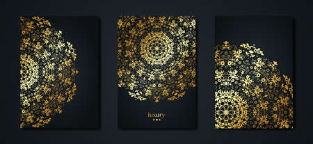Set gold vintage greeting cards black background. Luxury ornament template. Great for invitation, flyer, menu, brochure, postcard with copy space wallpaper, decoration, any desired idea. Orient style