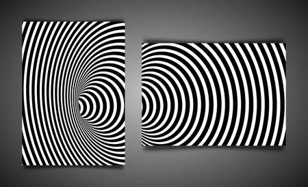 Set template Wormhole Optical Illusion, Geometric Black and White Abstract Hypnotic Worm Hole Tunnel, Vector Abstract Twisted Vector Illusion 3D Optical Art background