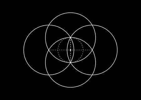 Vesica piscis Sacred geometry. All Seeing eye, the third eye or The Eye of Providence inside dotted circles. The eye of Phi mystic heaven and earth vector illustration isolated on black background