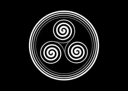 Triskelion or triskele round symbol. Triple spiral Celtic sign. Wiccan fertility symbol logo design. Art print tattoo simple flat white line vector illustration isolated on black background