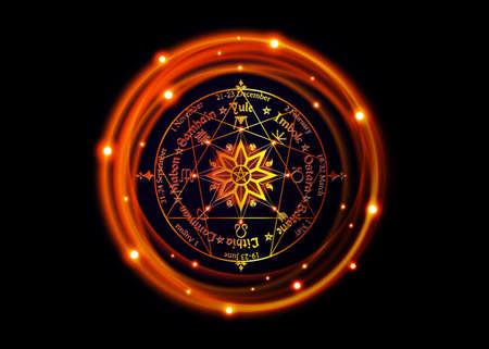 Wheel of the Year is an annual cycle of seasonal festivals, enneagram by many modern Pagans. Wiccan calendar and holidays. Compass with in the middle pentagram symbol, names in Celtic of the Solstices Vector Illustration