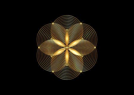 Seed of life symbol Sacred Geometry. Gold Logo icon Geometric mystic mandala of alchemy esoteric Flower of Life. Interlaced black circles, vector divine meditative amulet isolated on black background