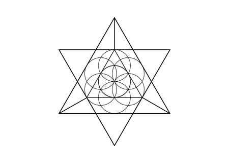 Flower of Life symbol Metatron Merkaba Sacred Geometry. icon Geometric mystic mandala of alchemy esoteric Seed of life. Vector black tattoo divine meditative amulet isolated on white background