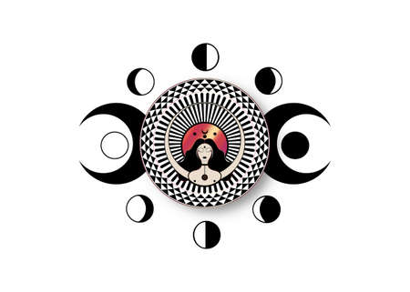 Wiccan woman icon, Triple goddess symbol of moon phases. Triple Moon Religious Wicca sign. Neopaganism logo. Lunar calendar cycles. New, Full Moon, Waning Crescent, First and Last Quarter. Vector