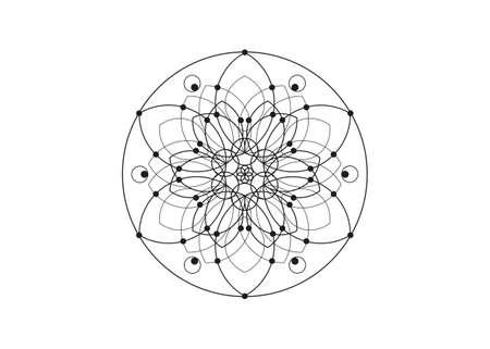 Flower of Life line art symbol Sacred Geometry. Geometric mystic mandala of alchemy esoteric Seed of life. Vector black line logo divine meditative amulet isolated on white background