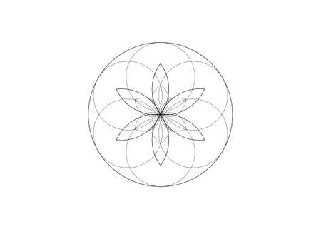 Flower of Life symbol Sacred Geometry. Logo icon round line art geometric mystic mandala of alchemy esoteric Seed of life. Vector black tattoo divine meditative amulet isolated on white background