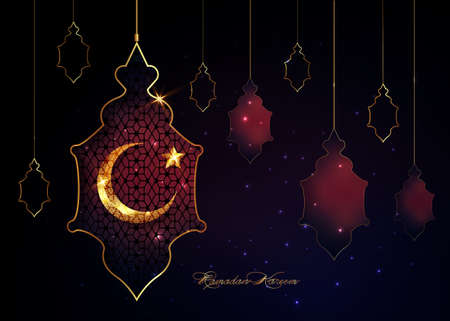 Ramadan Kareem 2021 vector greeting card. Gold half moon and star on starry background. Golden holiday poster with text, islamic symbol. Concept Muslim religion banner, flyer, arabic lamp silhouette 版權商用圖片 - 167697993