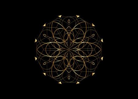 Flower of Life symbol Sacred Geometry. Gold luxury Logo icon Geometric mystic mandala of alchemy esoteric Seed of Life. Vector divine meditative amulet isolated on black background