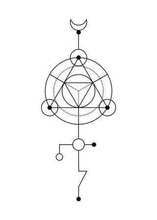 Sacred geometry abstract mystic signs. Merkaba thin line geometric triangle shape, esoteric or spiritual symbols. isolated on white background. Black linear shapes. For you design: tattoo, print, card