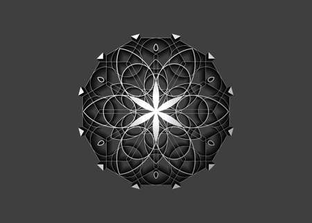 Flower of Life symbol Sacred Geometry. 3D icon Geometric mystic mandala of alchemy esoteric Seed of Life. Vector white line art divine meditative amulet isolated on gray background 向量圖像