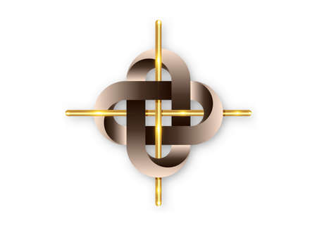 golden cross in intertwined Celtic knot, classic shape simple gold shiny metal cross. Celtic interlocking bronze Metallic knot, vector isolated on white background 向量圖像