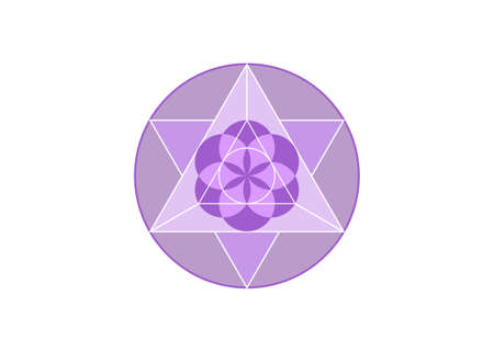 Flower of Life symbol Metatron Merkaba Sacred Geometry. Purple round icon. Geometric mystic mandala of alchemy esoteric Seed of life. Vector divine meditative amulet isolated on white background 向量圖像