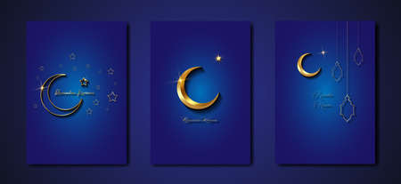 Ramadan Kareem 2021 vector greeting card set. Gold half moon on blue background. Golden holiday poster with text, islamic symbol. Concept Muslim religion banner, flyer, party invitation, sale shop 版權商用圖片 - 167698009