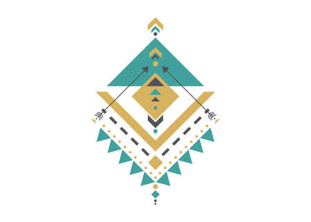 Colorful Mexican Aztec tribal sacred geometry design isolated on white background. Sacred Alchemy elements, esoteric bohemian traditional geometric shapes. Magic indian tribal vector illustration 向量圖像